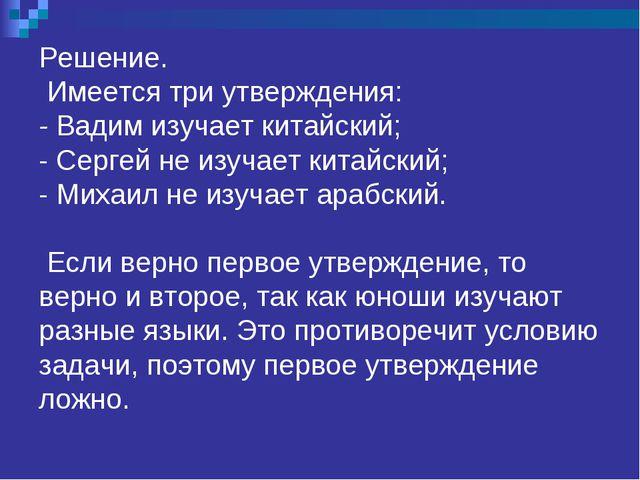 Решение. Имеется три утверждения: - Вадим изучает китайский; - Сергей не изу...