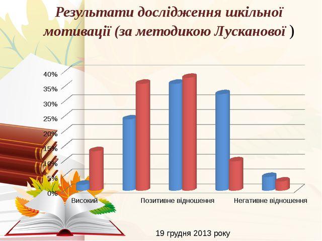 Результати дослідження шкільної мотивації (за методикою Лусканової ) 19 грудн...