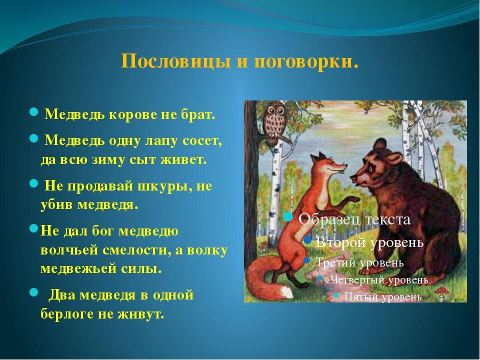 Пословицы и поговорки. Медведь корове не брат. Медведь одну лапу сосет, да вс...