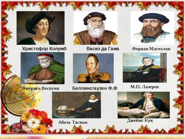 Христофор Колумб  Васко да Гама Фернан Магеллан Америго Веспучи Беллинсгауз...