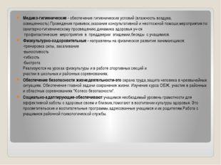 Медико-гигиенические - обеспечение гигиенических условий (влажность воздуха,