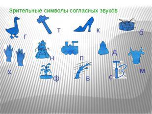 Зрительные символы согласных звуков т к г х б с м п в ф н д