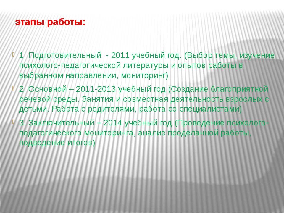 этапы работы: 1. Подготовительный - 2011 учебный год. (Выбор темы, изучение...