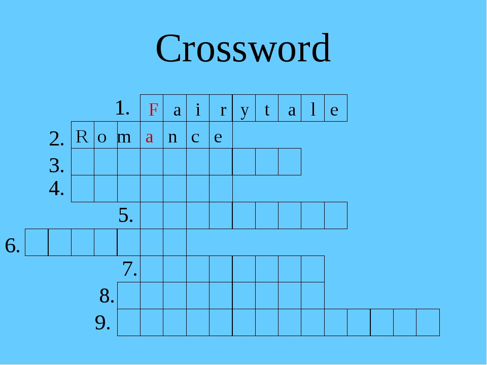 Crossword 1. F a i r y t a l e R o m a n c e 2. 3. 4. 5. 6. 7. 8. 9.