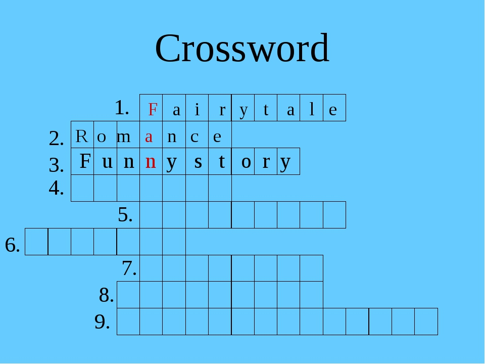 Crossword 1. F a i r y t a l e R o m a n c e F u n n y s t o r y 2. 3. 4. 5....
