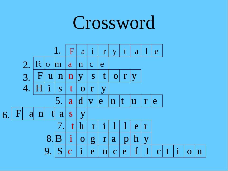 Crossword 1. F a i r y t a l e R o m a n c e F u n n y s t o r y H i s t o r...