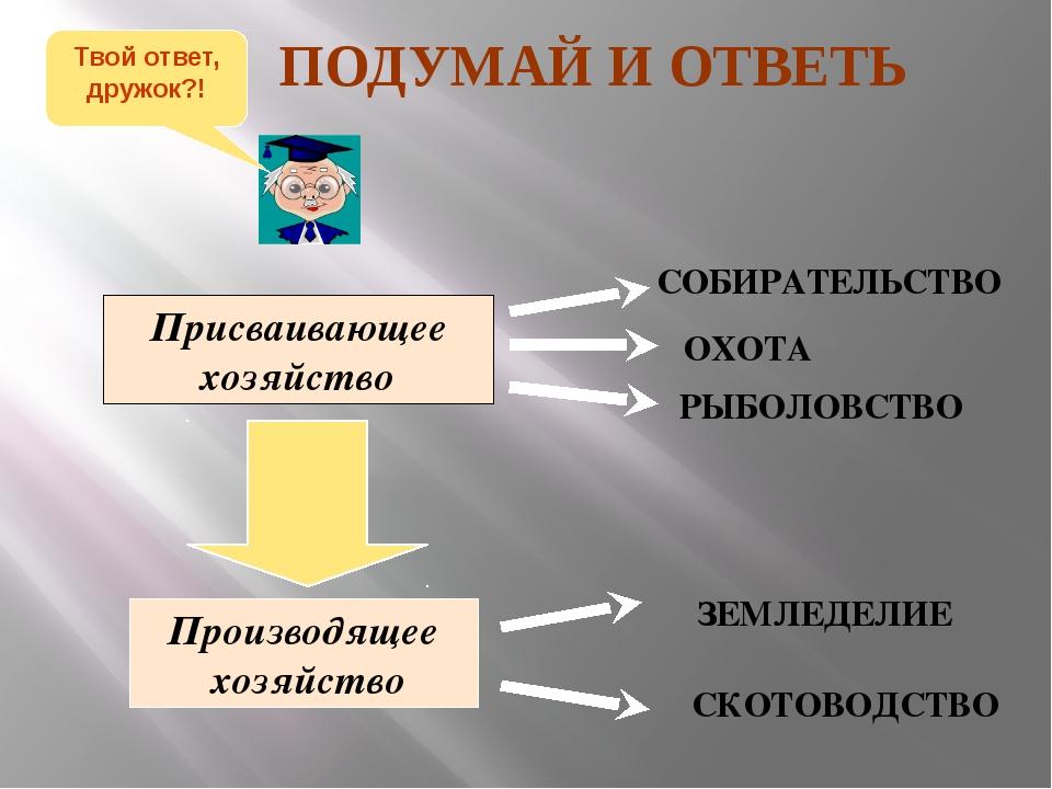 Присваивающее хозяйство Производящее хозяйство СОБИРАТЕЛЬСТВО ОХОТА РЫБОЛОВСТ...