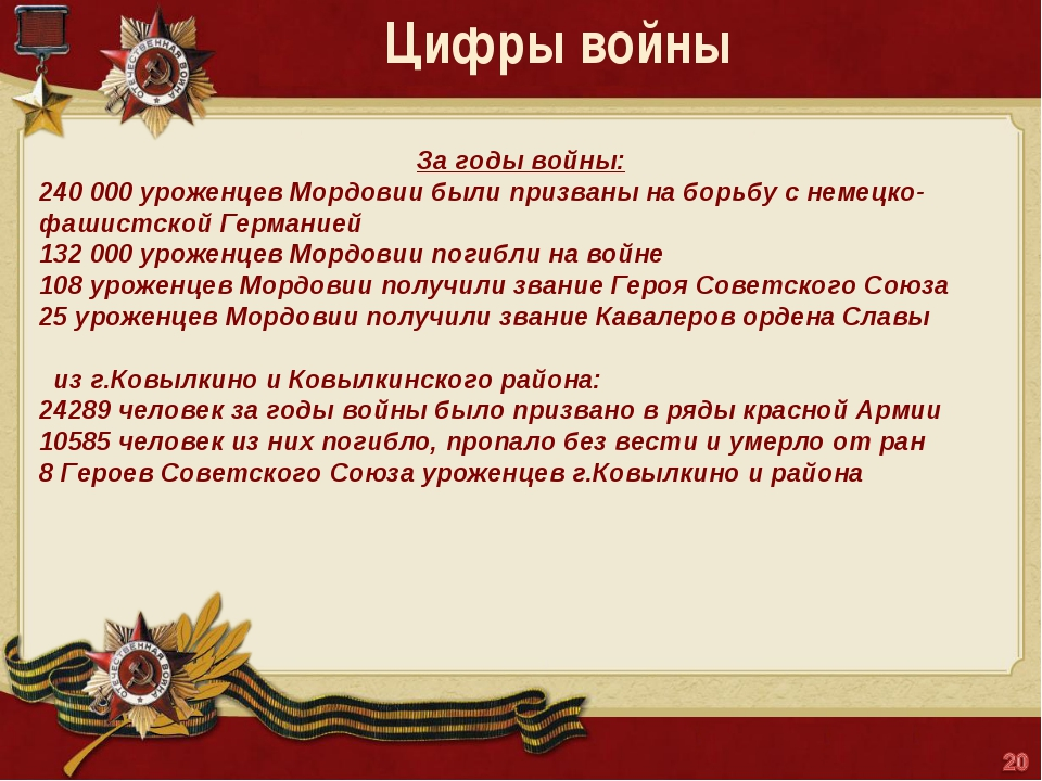 Цифры войны За годы войны: 240 000уроженцев Мордовии были призваны на борьбу...