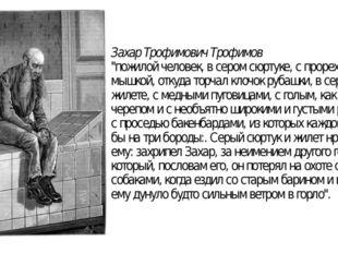 """Захар Трофимович Трофимов """"пожилой человек, в сером сюртуке, с прорехою под м"""
