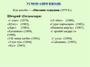 Шеърий тўпламлари: «Ҳолат» (1979), «Оқибат» (1980), «Кўзгу» (1983), «Сурат па