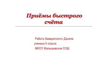 Работа Замаратского Данила ученика 5 класса МКОУ Малышевская СОШ