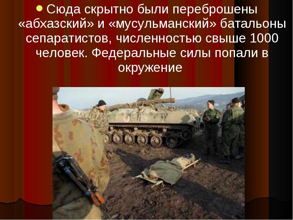 Сюда скрытно были переброшены «абхазский» и «мусульманский» батальоны сепарат...