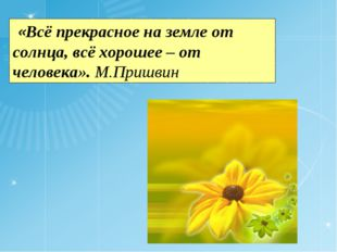 «Всё прекрасное на земле от солнца, всё хорошее – от человека». М.Пришвин