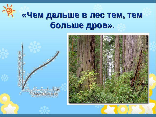 «Чем дальше в лес тем, тем больше дров».