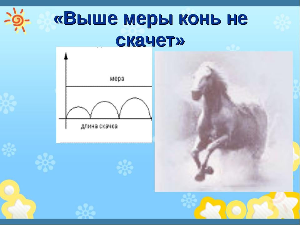 «Выше меры конь не скачет»
