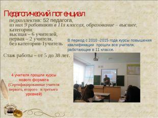 Педагогический потенциал педколлектив: 52 педагога, из них 9 работают в 11х