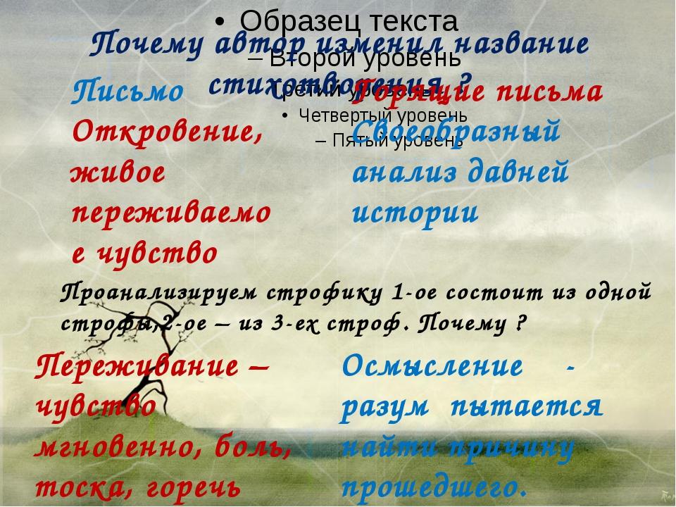 Почему автор изменил название стихотворения ? Письмо Откровение, живое переж...