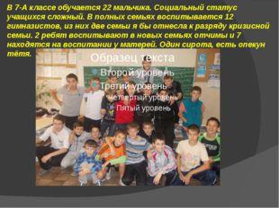 В 7-А классе обучается 22 мальчика. Социальный статус учащихся сложный. В пол