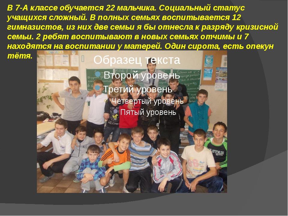 В 7-А классе обучается 22 мальчика. Социальный статус учащихся сложный. В пол...