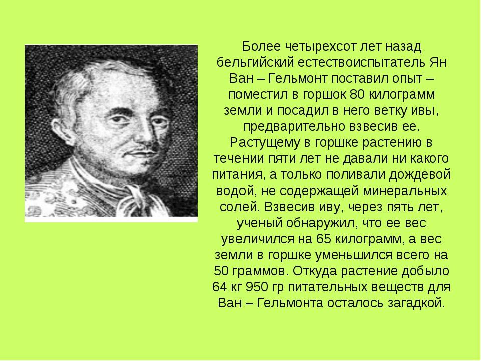 Более четырехсот лет назад бельгийский естествоиспытатель Ян Ван – Гельмонт п...