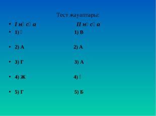 Тест жауаптары: І нұсқа ІІ нұсқа 1) Ә 1) В 2) А 2) А 3) Г 3) А 4) Ж 4) Ә 5) Г