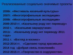 2006г. «Фестиваль казачьей культуры» 2007г. «Многопрофильные экспедиции» 2008