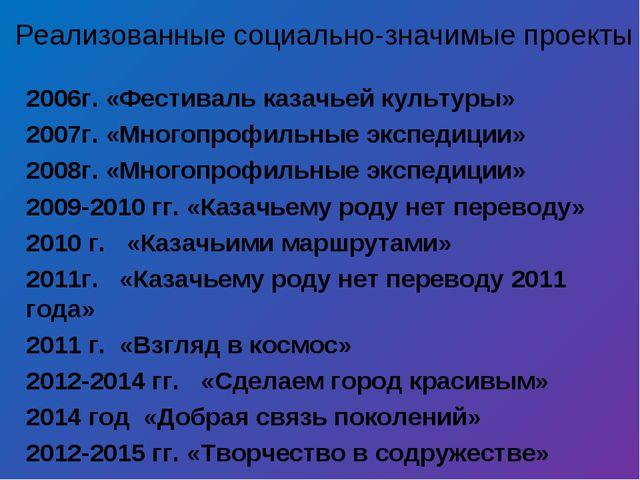 2006г. «Фестиваль казачьей культуры» 2007г. «Многопрофильные экспедиции» 2008...