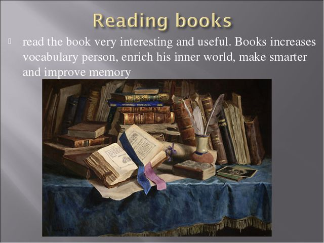 read the book very interesting and useful. Books increases vocabulary person,...