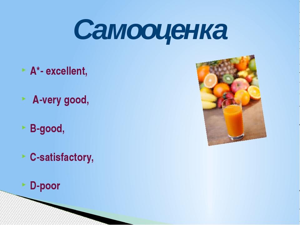 A*- excellent, A-very good, B-good, C-satisfactory, D-poor Самооценка