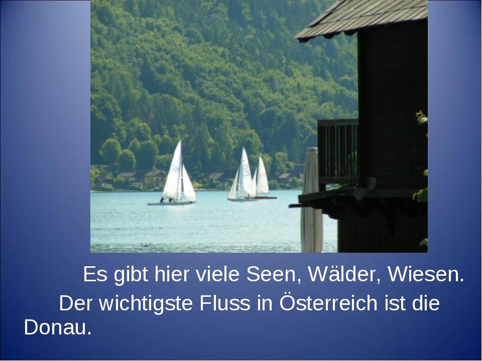 Es gibt hier viele Seen, Wälder, Wiesen. Der wichtigste Fluss in Österreich...