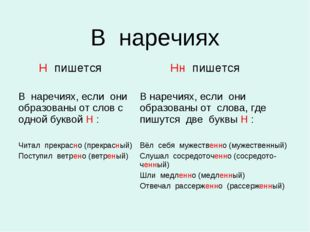 В наречиях Н пишется Нн пишется В наречиях, если они образованы от слов с од