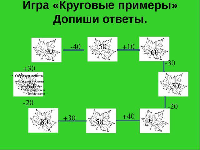 Игра «Круговые примеры» Допиши ответы. 90 -40 +10 -30 -20 +40 +30 -20 +30 50...