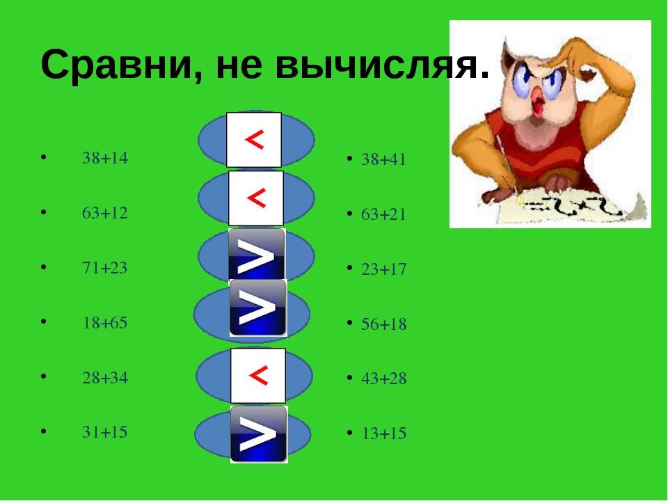 Сравни, не вычисляя. 38+14 63+12 71+23 18+65 28+34 31+15 38+41 63+21 23+17 56...