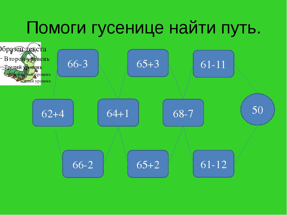 Помоги гусенице найти путь. 66-3 65+3 61-12 65+2 66-2 62+4 64+1 68-7 61-11 50