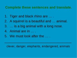Complete these sentences and translate. Tiger and black rhino are … . A squir