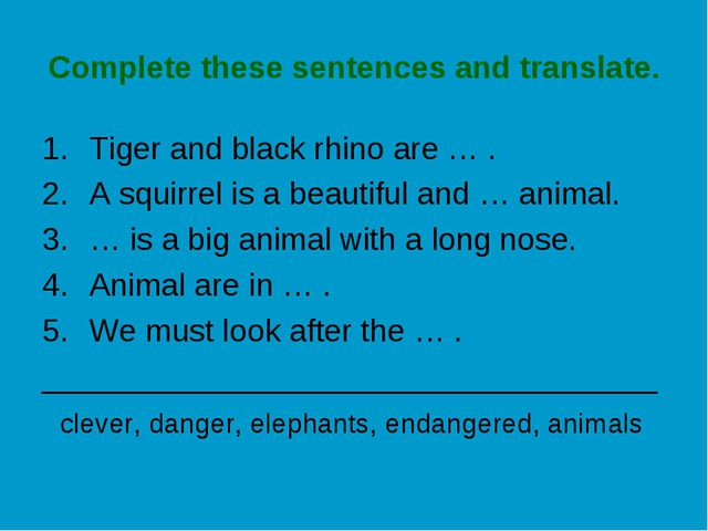 Complete these sentences and translate. Tiger and black rhino are … . A squir...