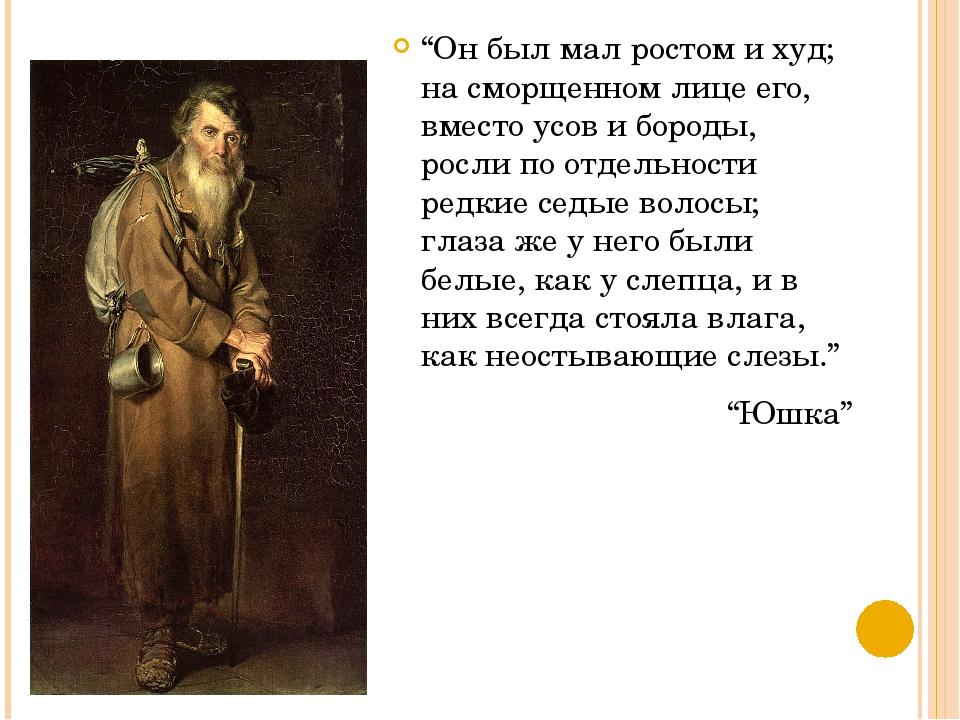 """""""Он был мал ростом и худ; на сморщенном лице его, вместо усов и бороды, росли..."""