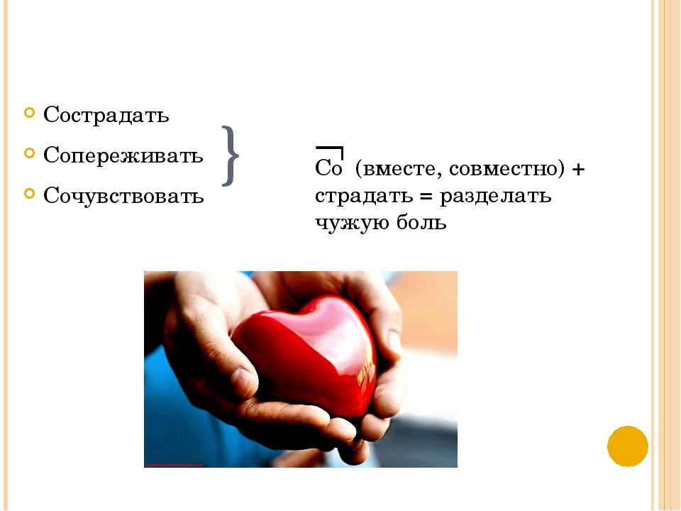 } Сострадать Сопереживать Сочувствовать  Со (вместе, совместно) + страдать =...