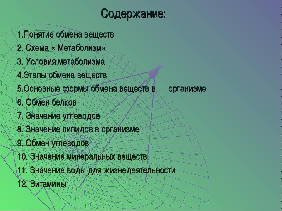 Содержание: 1.Понятие обмена веществ 2. Схема « Метаболизм» 3. Условия метабо...