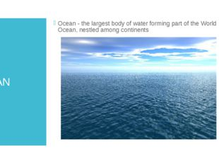 OCEAN Ocean - the largest body of water forming part of the World Ocean, nest