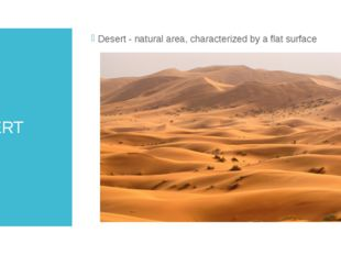 DESERT Desert - natural area, characterized by a flat surface