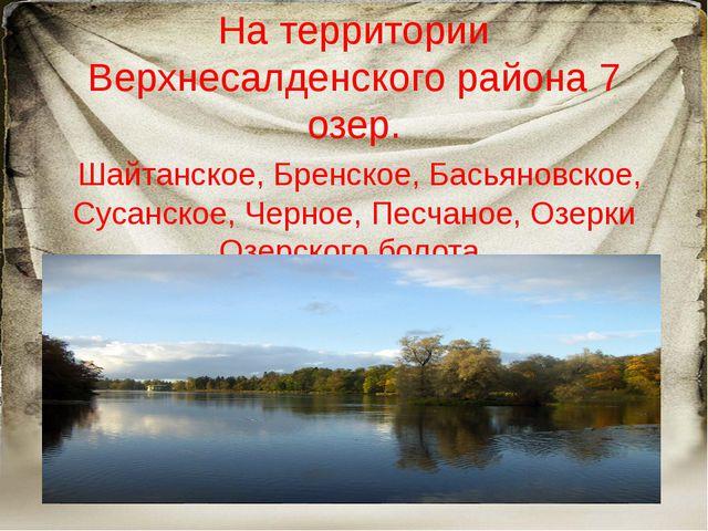 На территории Верхнесалденского района 7 озер. Шайтанское, Бренское, Басьяно...