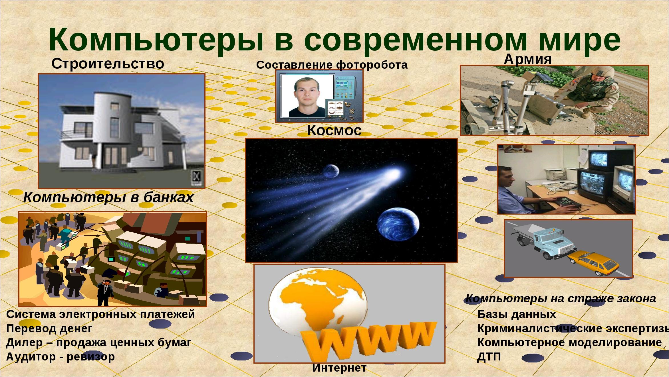 Компьютеры в современном мире Строительство Армия Космос Компьютеры на страже...