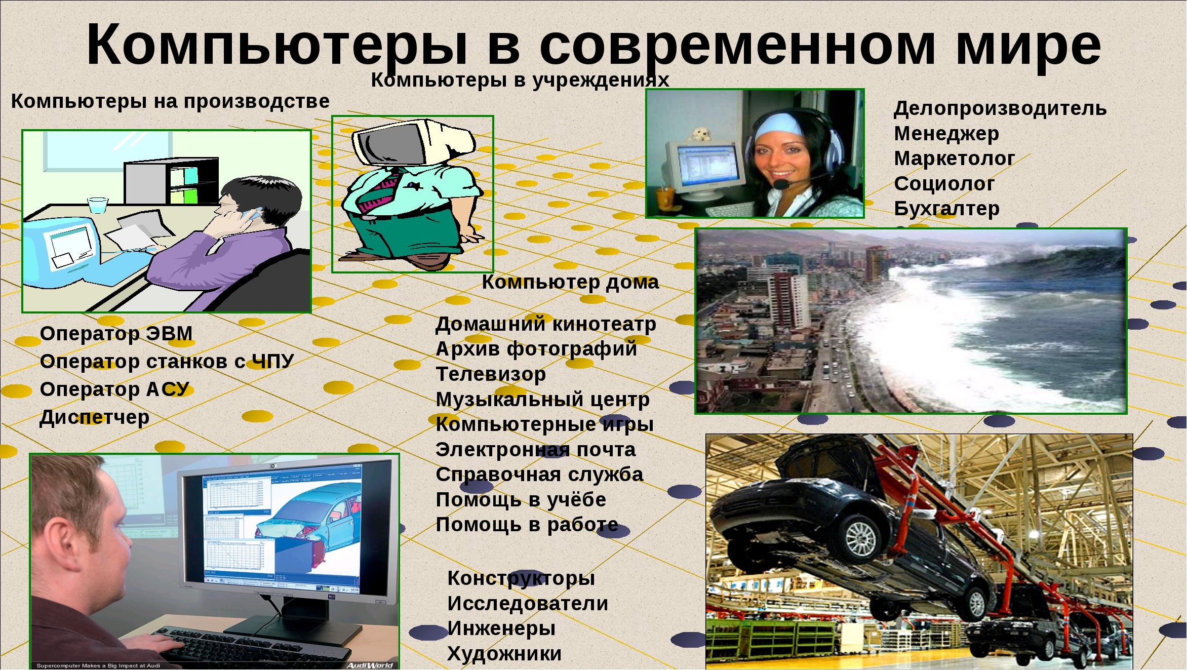 Компьютеры в современном мире Компьютеры на производстве Оператор ЭВМ Операто...