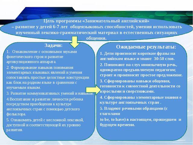 Цель программы «Занимательный английский» – развитие у детей 6-7 лет общеязы...