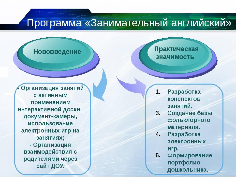 Нововведение Программа «Занимательный английский» Разработка конспектов заня...