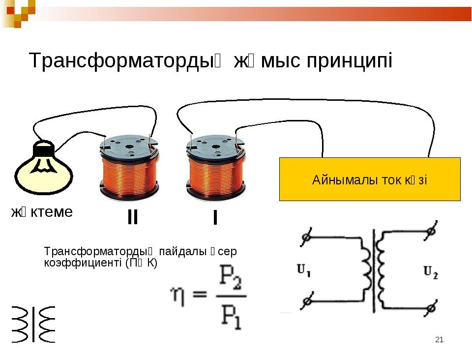* Трансформатордың жұмыс принципі I II жүктеме Трансформатордың пайдалы әсер...
