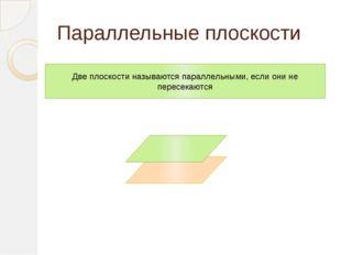 Параллельные плоскости Две плоскости называются параллельными, если они не пе