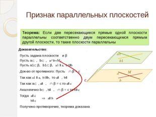 Признак параллельных плоскостей Теорема: Если две пересекающиеся прямые одной