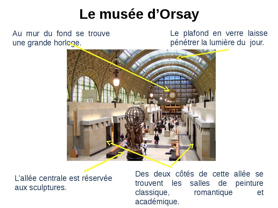 Le musée d'Orsay Au mur du fond se trouve une grande horloge. Le plafond en v...